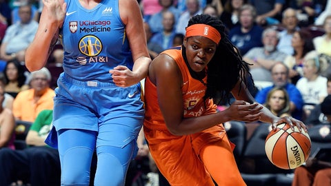 <p>               Connecticut Sun center Jonquel Jones drives around Chicago Sky center Stefanie Dolson during a WNBA basketball game Tuesday, July 30, 2019, in Uncasville, Conn. (Sean D. Elliot/The Day via AP)             </p>