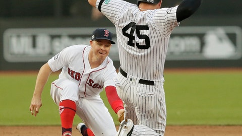 <p>               New York Yankees' Luke Voit slides safely into second base beside Boston Red Sox's Brock Holt after hitting a double during the fifth inning of a baseball game, Saturday, June 29, 2019, in London. Major League Baseball made its European debut game Saturday at London Stadium. (AP Photo/Tim Ireland)             </p>