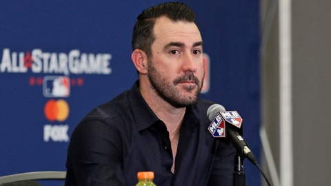 <p>               Houston Astros' Justin Verlander speaks during a news-conference, Monday, July 8, 2019, in Cleveland. Verlander will be the American League starting pitcher for the 90th All-Star Game played on Tuesday in Cleveland. (AP Photo/Tony Dejak)             </p>