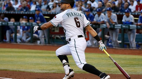 <p>               Arizona Diamondbacks' David Peralta watches the flight of his run-scoring double against the Los Angeles Dodgers during the first inning of a baseball game, Tuesday, June 25, 2019, in Phoenix. (AP Photo/Ross D. Franklin)             </p>