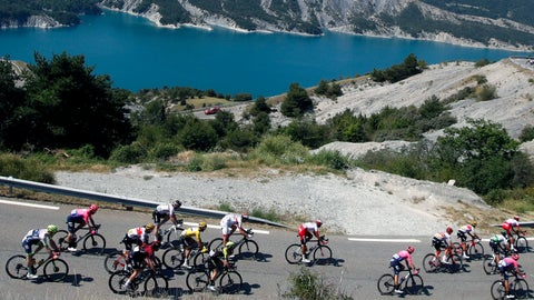 <p>               The pack rides during the eighteenth stage of the Tour de France cycling race over 208 kilometers (130 miles) with start in Embrun and finish in Valloire, France, Thursday, July 25, 2019. (AP Photo/ Christophe Ena)             </p>