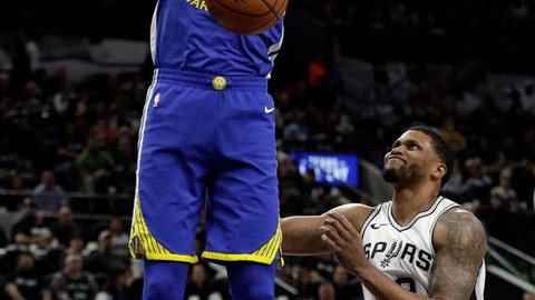<p>               FILE - In this April 19, 2018, file photo, Golden State Warriors forward Kevin Durant dunks as San Antonio Spurs' Rudy Gay (22) watches during the the first half of Game 3 of a first-round NBA basketball playoff series in San Antonio.  Just three seasons ago, the Brooklyn Nets were the worst team in the NBA. On Sunday, June 30, 2019, they were the story of the league. They agreed to deals with superstars Kevin Durant and Kyrie Irving as part of a sensational start to free agency, giving the longtime No. 2 team in New York top billing in the Big Apple. (AP Photo/Tony Gutierrez, File)             </p>