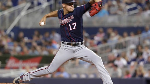<p>               Minnesota Twins starting pitcher Jose Berrios throws during the third inning of the team's baseball game against the Miami Marlins, Wednesday, July 31, 2019, in Miami. (AP Photo/Lynne Sladky)             </p>