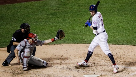 <p>               New York Mets' Todd Frazier (21) is hit by a pitch during the fifth inning of the team's baseball game against the Philadelphia Phillies Saturday, July 6, 2019, in New York. (AP Photo/Frank Franklin II)             </p>