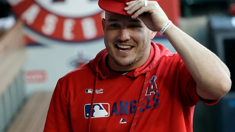 <p>               Los Angeles Angels' Mike Trout jokes with teammates in the dugout before the start of a baseball game against the Houston Astros, Monday, July 15, 2019, in Anaheim, Calif. (AP Photo/Marcio Jose Sanchez)             </p>