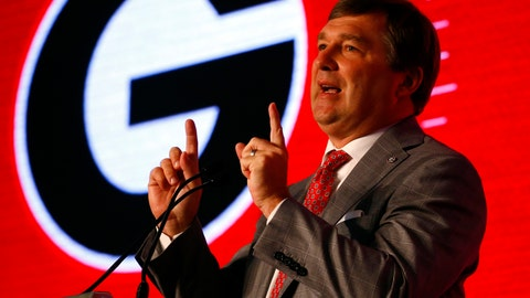 <p>               Georgia head coach Kirby Smart speaks during the NCAA college football Southeastern Conference Media Days, Tuesday, July 16, 2019, in Hoover, Ala. (AP Photo/Butch Dill)             </p>
