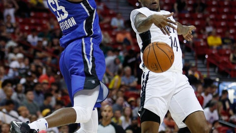 <p>               Brooklyn Nets' Ahmed Hill, right, blocks a pass from Orlando Magic's Amile Jefferson during the second half of an NBA summer league basketball game Wednesday, July 10, 2019, in Las Vegas. (AP Photo/John Locher)             </p>