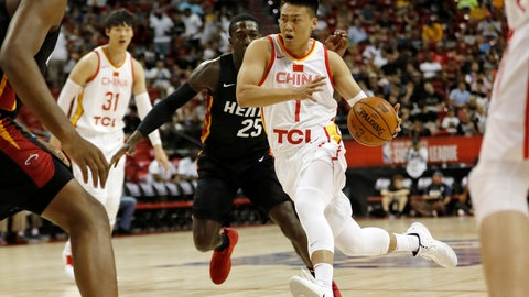 <p>               China's Zhao Rui (1) drives toward the basket past Miami Heat's Kendrick Nunn (25) during an NBA summer league basketball game Friday, July 5, 2019, in Las Vegas. (AP Photo/Steve Marcus)             </p>