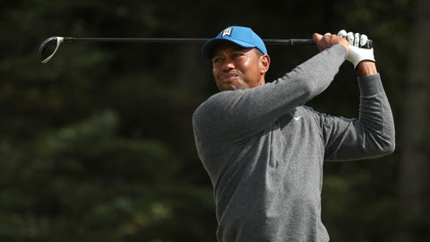 <p>               Tiger Woods of the United States plays his tee shot on the 5th hole during the first round of the British Open Golf Championships at Royal Portrush in Northern Ireland, Thursday, July 18, 2019.(AP Photo/Jon Super)             </p>