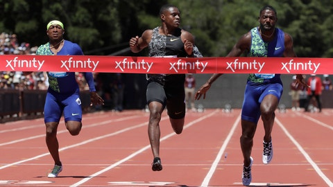 <p>               United States' Christian Coleman, center, runs toward the finish line to win the men's 100-meter race during the Prefontaine Classic, an IAAF Diamond League athletics meeting, in Stanford, Calif., Sunday, June 30, 2019. Michael Rodgers, left, and Justin Gatlin, also of the United States, also compete. (AP Photo/Jeff Chiu)             </p>