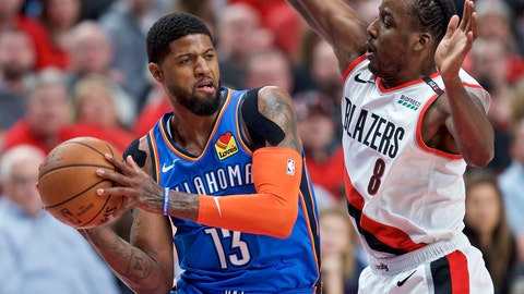 <p>               FILE - In this April 16, 2019, file photo, Oklahoma City Thunder forward Paul George, left, looks to pass the ball around Portland Trail Blazers forward Al-Farouq Aminu during the first half of Game 2 of an NBA basketball first-round playoff series in Portland, Ore. A person familiar with the negotiations says the Los Angeles Clippers will be landing Kawhi Leonard as a free agent after they acquire Paul George from the Oklahoma City Thunder in a massive trade for players and draft picks. (AP Photo/Craig Mitchelldyer)             </p>