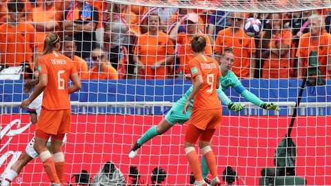 <p>               Netherlands goalkeeper Sari Van Veenendaal, right, makes a save during the Women's World Cup final soccer match between US and The Netherlands at the Stade de Lyon in Decines, outside Lyon, France, Sunday, July 7, 2019. (AP Photo/Francisco Seco)             </p>