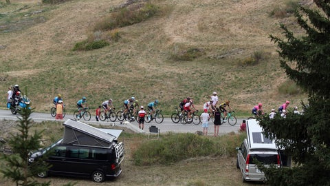 <p>               Riders in the breakaway group ride during the nineteenth stage of the Tour de France cycling race over 126,5 kilometers (78,60 miles) with start in Saint Jean De Maurienne and finish in Tignes, France, Friday, July 26, 2019. (AP Photo/Thibault Camus)             </p>