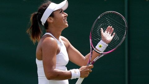 <p>               Britain's Heather Watson celebrates after beating United States' Caty McNally to win their Women's singles match during day one of the Wimbledon Tennis Championships in London, Monday, July 1, 2019. (AP Photo/Ben Curtis)             </p>