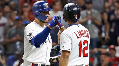 <p>               American League's Joey Gallo, left, of the Texas Rangers, is congratulated by American League teammate Francisco Lindor, of the Cleveland Indians, after Gallo hit a solo home run during the seventh inning of the MLB baseball All-Star Game, Tuesday, July 9, 2019, in Cleveland. (AP Photo/John Minchillo)             </p>