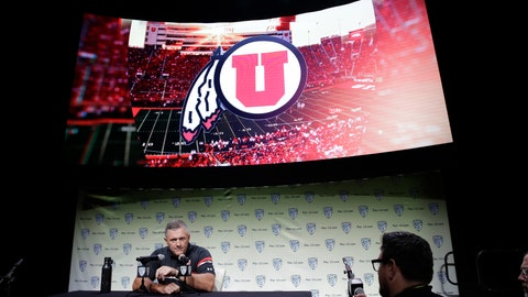 <p>               Utah head coach Kyle Whittingham answers questions during the Pac-12 Conference NCAA college football Media Day Wednesday, July 24, 2019, in Los Angeles. (AP Photo/Marcio Jose Sanchez)             </p>