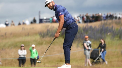 <p>               South Africa's Erik Van Rooyen on the 6th green during day two of the Scottish Open golf tournament at The Renaissance Club, in North Berwick, Scotland, Friday July 12, 2019. (Jane Barlow/PA via AP)             </p>