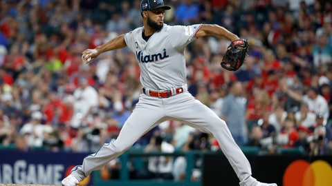 <p>               National League pitcher Sandy Alcantara, of the Miami Marlins, throws during the eighth inning of the MLB baseball All-Star Game against the American League, Tuesday, July 9, 2019, in Cleveland. (AP Photo/John Minchillo)             </p>