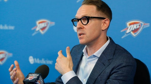 <p>               Oklahoma City Thunder general manager Sam Presti speaks to the media during a news conference in Oklahoma City, after a whirlwind summer that saw the team trade stars Paul George and Russell Westbrook, Thursday, July 25, 2019. (AP Photo/Sue Ogrocki)             </p>