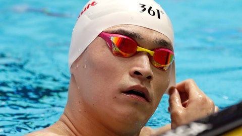 <p>               China's Sun Yang takes a break during a training session at the World Swimming Championships in Gwangju, South Korea, Friday, July 19, 2019. (AP Photo/Lee Jin-man)             </p>