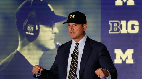 <p>               Michigan head coach Jim Harbaugh responds to a question during the Big Ten Conference NCAA college football media days Friday, July 19, 2019, in Chicago. (AP Photo/Charles Rex Arbogast)             </p>