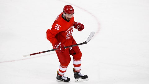 <p>               FILE - In this file photo taken on Sunday, Feb. 25, 2018, Russia's Slava Voynov celebrates after scoring a goal during the first period of the men's gold medal hockey game against Germany at the 2018 Winter Olympics in Gangneung, South Korea. Former Los Angeles Kings defenseman Slava Voynov signed a one-year deal in the Kontinental Hockey League on Monday July 15, 2019, as he sits out the final months of his NHL suspension. (AP Photo/Jae C. Hong)             </p>