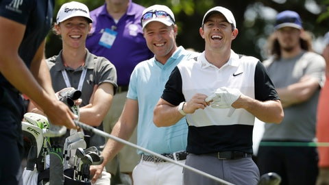 <p>               Rory McIlroy, of Northern Ireland, right, and Philip Eriksson, of Sweden, second from right, laugh as they watch Henrik Stenson, of Sweden, get ready to hit in a left-handed driving contest on the 13th hole during a practice round for the World Golf Championships-FedEx St. Jude Invitational Wednesday, July 24, 2019, in Memphis, Tenn. (AP Photo/Mark Humphrey)             </p>
