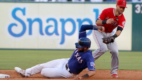 <p>               Texas Rangers' Joey Gallo steals second ahead of the attempted tag by Los Angeles Angels second baseman Tommy La Stella (9) in the first inning of a baseball game in Arlington, Texas, Tuesday, July 2, 2019. (AP Photo/Tony Gutierrez)             </p>