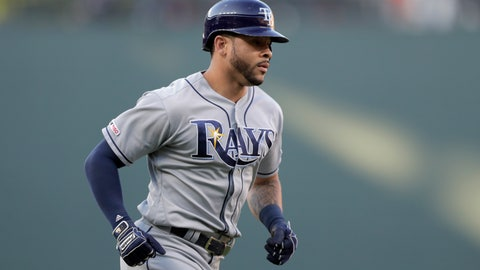 <p>               Tampa Bay Rays' Tommy Pham runs the bases after hitting a solo home run off Baltimore Orioles starting pitcher Dylan Bundy during the first inning of a baseball game Friday, July 12, 2019, in Baltimore. (AP Photo/Julio Cortez)             </p>