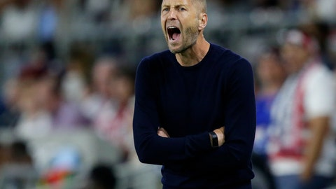 <p>               FILe - In this June 18, 2019 file photo, U.S. coach Gregg Berhalter yells during the second half of the team's CONCACAF Gold Cup soccer match against Guyana in St. Paul, Minn. The U.S. men's soccer tries to win a trophy on Sunday, July 7,  when they face Mexico at Soldier Field in the final of the CONCACAF Gold Cup, the championship of North and Central America and the Caribbean. (AP Photo/Andy Clayton-King, File)             </p>