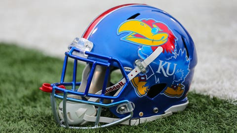 Nov 23, 2018; Lawrence, KS, USA; A detailed view a Kansas Jayhawks helmet in the first half against the Texas Longhorns at Memorial Stadium. Mandatory Credit: Jay Biggerstaff-USA TODAY Sports
