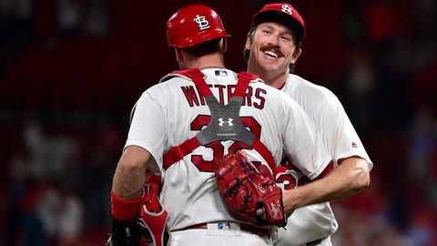 Jul 15, 2019; St. Louis, MO, USA; St. Louis Cardinals starting pitcher Miles Mikolas (39) is congratulated by catcher Matt Wieters (32) after throwing a complete game shutout against the Pittsburgh Pirates at Busch Stadium. Mandatory Credit: Jeff Curry-USA TODAY Sports