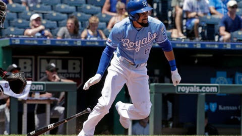 Kansas City Royals' Billy Hamilton runs to first after hitting a two-run single during the third inning of a baseball game against the Chicago White Sox Thursday, July 18, 2019, in Kansas City, Mo. (AP Photo/Charlie Riedel)