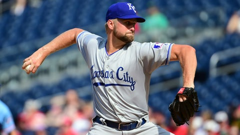Jul 6, 2019; Washington, DC, USA; Kansas City Royals pitcher Glenn Sparkman (57) throws a pitch in the first inning against the Washington Nationals at Nationals Park. Mandatory Credit: Evan Habeeb-USA TODAY Sports
