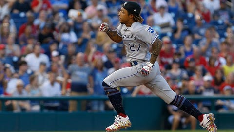 Jul 5, 2019; Washington, DC, USA; Kansas City Royals second baseman Adalberto Mondesi (27) rounds the bases after hitting an RBI triple against the Washington Nationals  in the third inning at Nationals Park. Mandatory Credit: Geoff Burke-USA TODAY Sports