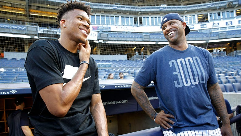 Bucks star Giannis Antetokounmpo gives baseball a try