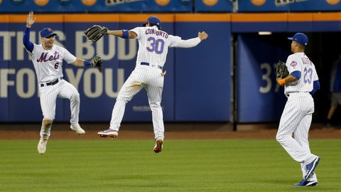 <p>               New York Mets outfielders Jeff McNeil, left, Michael Conforto, center, and Aaron Altherr celebrate after a baseball game against the Washington Nationals, Saturday, Aug. 10, 2019, in New York. (AP Photo/Seth Wenig)             </p>