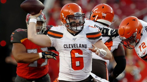 <p>               FILE - In this Friday, Aug. 23, 2019, file photo, Cleveland Browns quarterback Baker Mayfield (6) throws a pass against the Tampa Bay Buccaneers during the first half of an NFL preseason football game in Tampa, Fla. Given the many variables that go into developing an elite quarterback, Pro Football Hall of Famer Jim Kelly can't even imagine assessing what to make of last year's group of five first-round draft picks as they enter their sophomore seasons. (AP Photo/Mark LoMoglio, File)             </p>