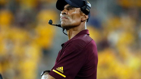<p>               Arizona State coach Herm Edwards watches during the second half of the team's NCAA college football game against Oregon State on Saturday, Sept. 29, 2018, in Tempe, Ariz.  After posting a winning record during his first season, securing a trip to a bowl game, and a monumental comeback against Arizona State's biggest rival, the expectations, at least outside Tempe, were exceeded.  (AP Photo/Matt York)             </p>