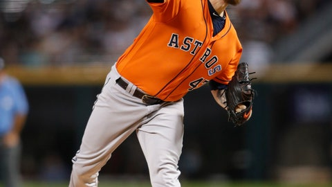 <p>               Houston Astros starting pitcher Chris Devenski delivers against the Chicago White Sox during the first inning of the second baseball game of a doubleheader Tuesday, Aug. 13, 2019, in Chicago. (AP Photo/Kamil Krzaczynski)             </p>