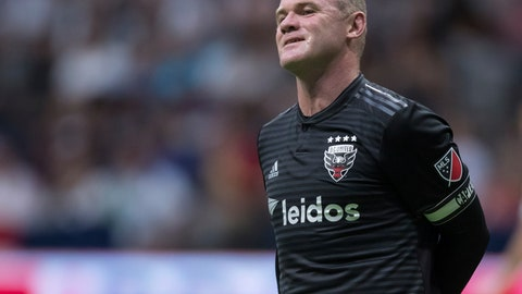 <p>               D.C. United's Wayne Rooney reacts after putting a shot over top of the Vancouver Whitecaps' goal during the first half of an MLS soccer match Saturday, Aug. 17, 2019, in Vancouver, British Columbia. (Darryl Dyck/The Canadian Press via AP)             </p>