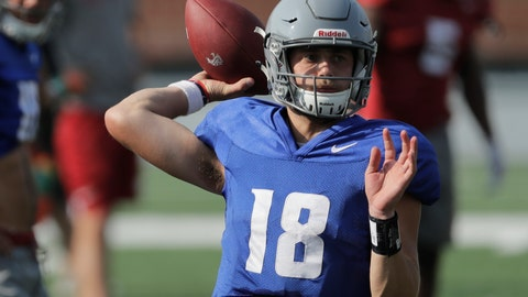 <p>               FILE - In this Aug. 16, 2018, file photo, Washington State quarterback Anthony Gordon passes during NCAA college football practice, in Pullman, Wash. Gordon has big shoes to fill. (AP Photo/Ted S. Warren, File)             </p>