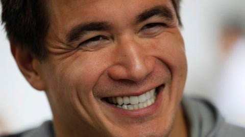 <p>               Nathan Adrian, a swimmer from the United States, smiles during an interview at the swimming complex of the Pan American Games in Lima, Peru, Monday, Aug. 5, 2019. Adrian is competing at the Pan American Games just months after being diagnosed with testicular cancer. He has decided to continue training with the goal of competing at Tokyo 2020 Summer Olympics. (AP Photo/Fernando Llano)             </p>