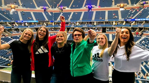 "<p>               In this image provided by Adidas, Hall of Fame tennis player Billie Jean King, center, poses with hockey players, from left, Canadian Renata Fast, Canadian Rebecca Johnston, American Brianna Decker, King, American Kendall Coyne Schofield and Canadian Sarah Nurse at the U.S. Open tennis tournament in New York, Monday, Aug. 26, 2019. The hockey players are launching what's being called ""The Dream Gap Tour,"" announced by the newly formed Professional Women's Hockey Players' Association on Wednesday, Aug 28. The gap represents the missing link young girls have in their dreams of ever playing professionally. (Samantha Hughey/Adidas via AP)             </p>"