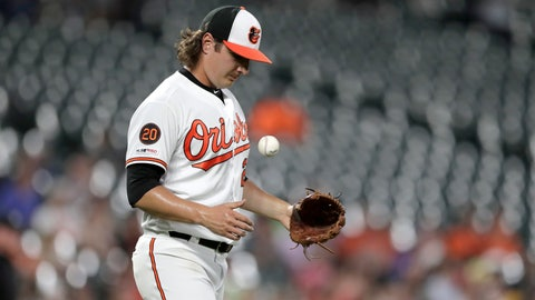 <p>               Baltimore Orioles starting pitcher Asher Wojciechowski tosses a ball in reaction after allowing a solo home run to Tampa Bay Rays' Austin Meadows during the third inning of a baseball game Thursday, Aug. 22, 2019, in Baltimore. (AP Photo/Julio Cortez)             </p>