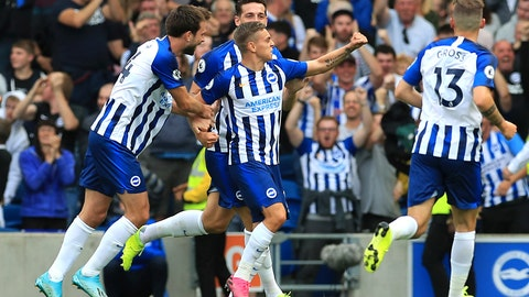 <p>               Brighton & Hove Albion's Leandro Trossard, centre, celebrates scoring his side's first goal of the game with teammates before it is ruled out using VAR, during the English Premier League soccer match between Brighton and Hove and West Ham United, at the AMEX Stadium, in Brighton, England, Saturday, Aug. 17, 2019. (Gareth Fuller/PA via AP)             </p>