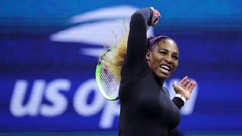 <p>               Serena Williams returns to Maria Sharapova during the first round of the U.S. Open tennis tournament in New York, Monday, Aug. 26, 2019. (AP Photo/Charles Krupa)             </p>