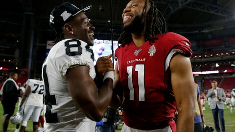 <p>               Oakland Raiders wide receiver Antonio Brown (84) and Arizona Cardinals wide receiver Larry Fitzgerald (11) meet at midfield after an an NFL preseason football game, Thursday, Aug. 15, 2019, in Glendale, Ariz. The Raiders won 33-26. (AP Photo/Rick Scuteri)             </p>