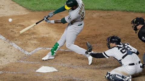 <p>               Oakland Athletics' Jurickson Profar follows through on a two-run double during the sixth inning of the team's baseball game against the New York Yankees on Friday, Aug. 30, 2019, in New York. (AP Photo/Frank Franklin II)             </p>