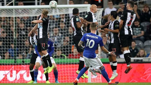 <p>               Leicester City's James Maddison scores his side's first goal of the game during their English League Cup Second Round soccer match against Newcastle at St James' Park, Newcastle, England, Wednesday, Aug. 28, 2019. (Owen Humphreys/PA via AP)             </p>